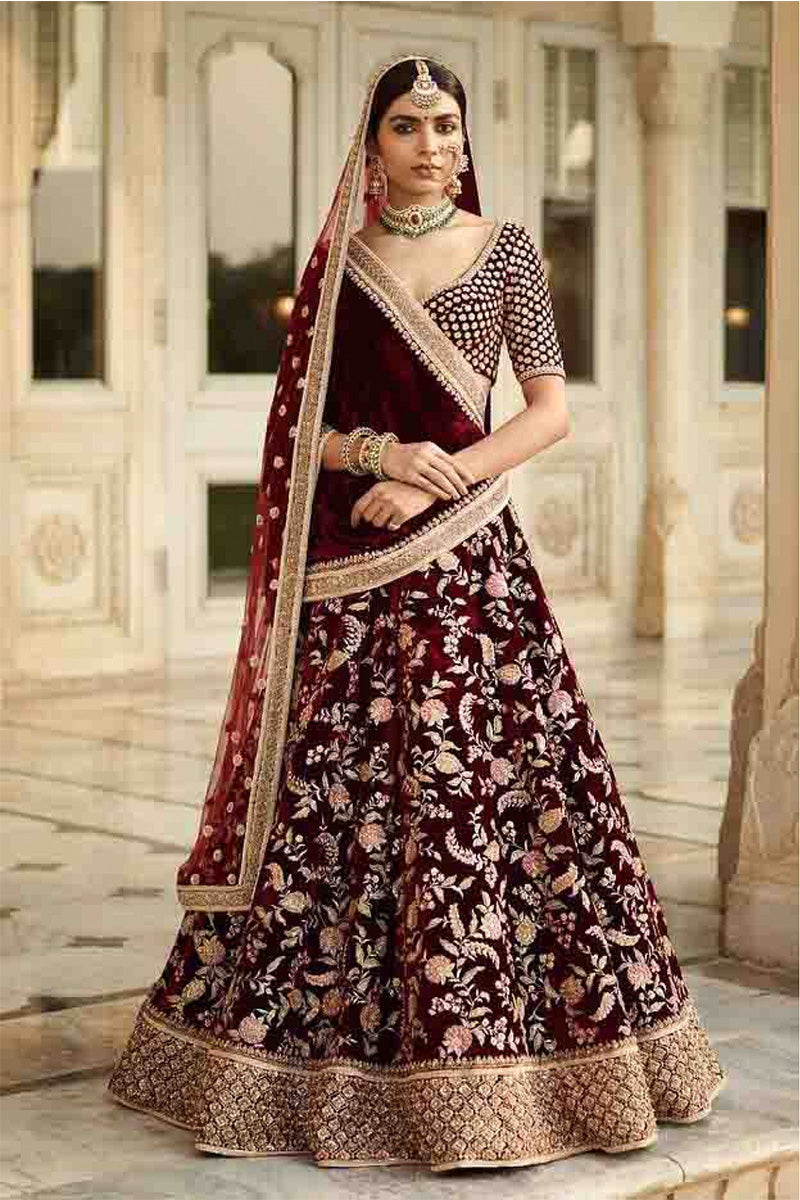 Exclusive Heavy Designer Beautiful Maroon Color Bridal Lehenga Choli FF122