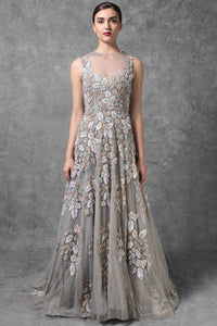 Light Grey Color Attractive Designer Gown FFSK-2011
