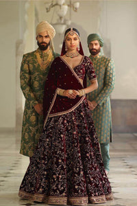 Exclusive Heavy Designer Beautiful Wine Color Bridal Lehenga Choli FF127