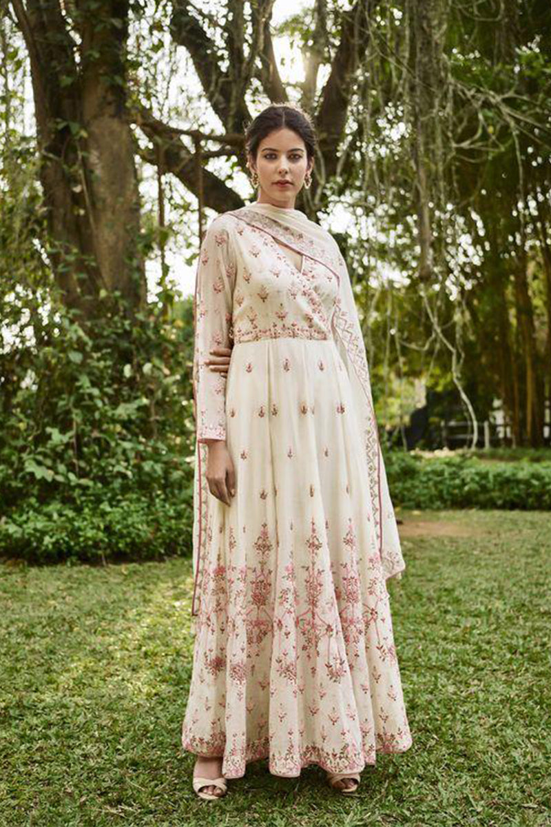 Off-White Color Embroidered Salwar Kameez