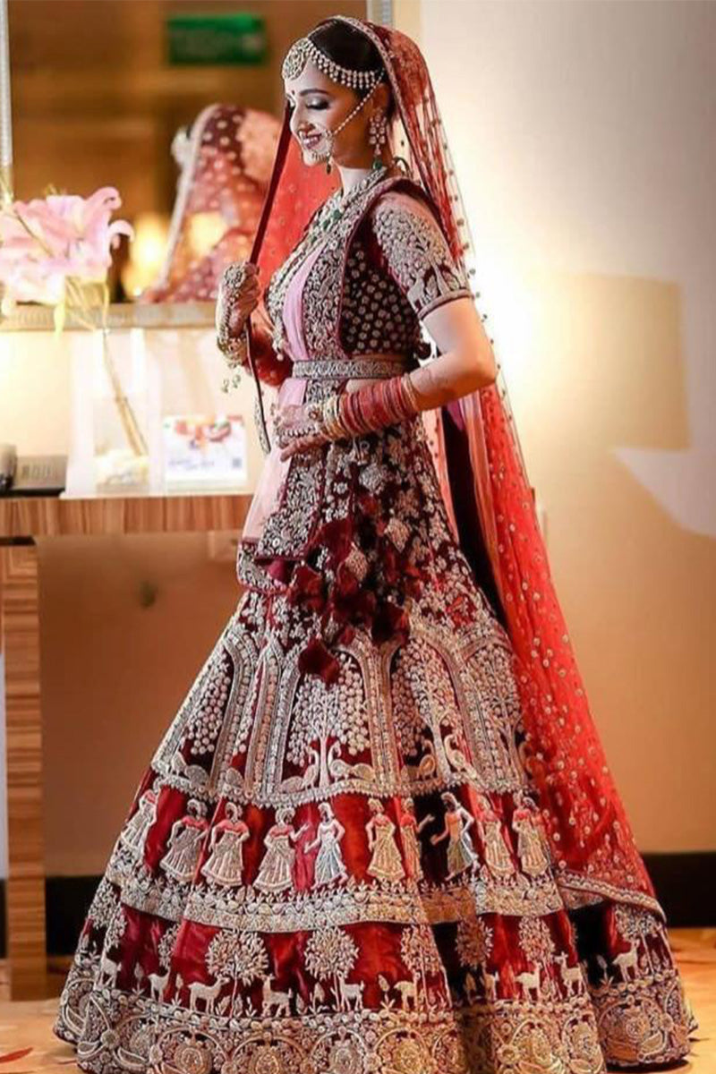Exclusive Beautiful Designer Maroon Color Bridal Lehenga