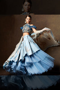 A Blueish Tone  Embroidered Lehenga Choli