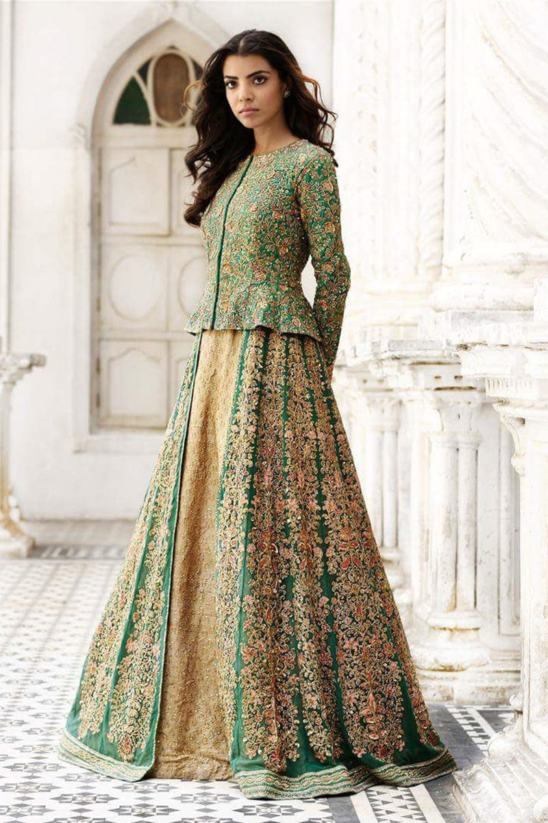 Parrot Green Designer Embroidered Gown