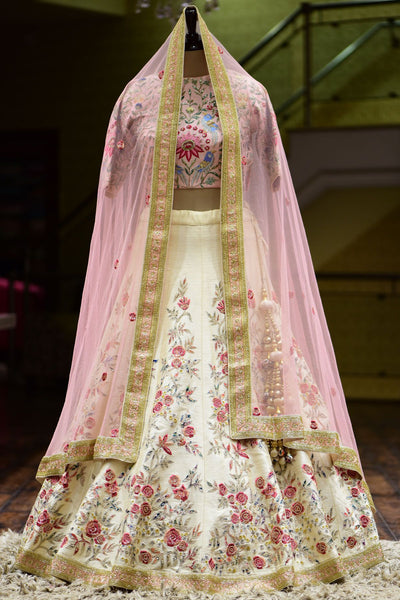 Beige Resham Embroidered Raw Silk Bridal Lehenga FF141