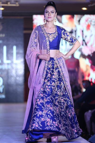 Blue Color Raw Silk Resham Embroidered Bridal Lehenga FF2386