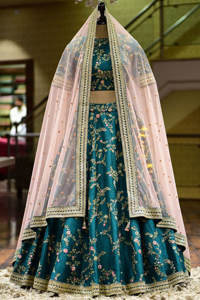A Bottle Green Dori Embroidered Raw Silk Bridal Lehenga Choli FF3487