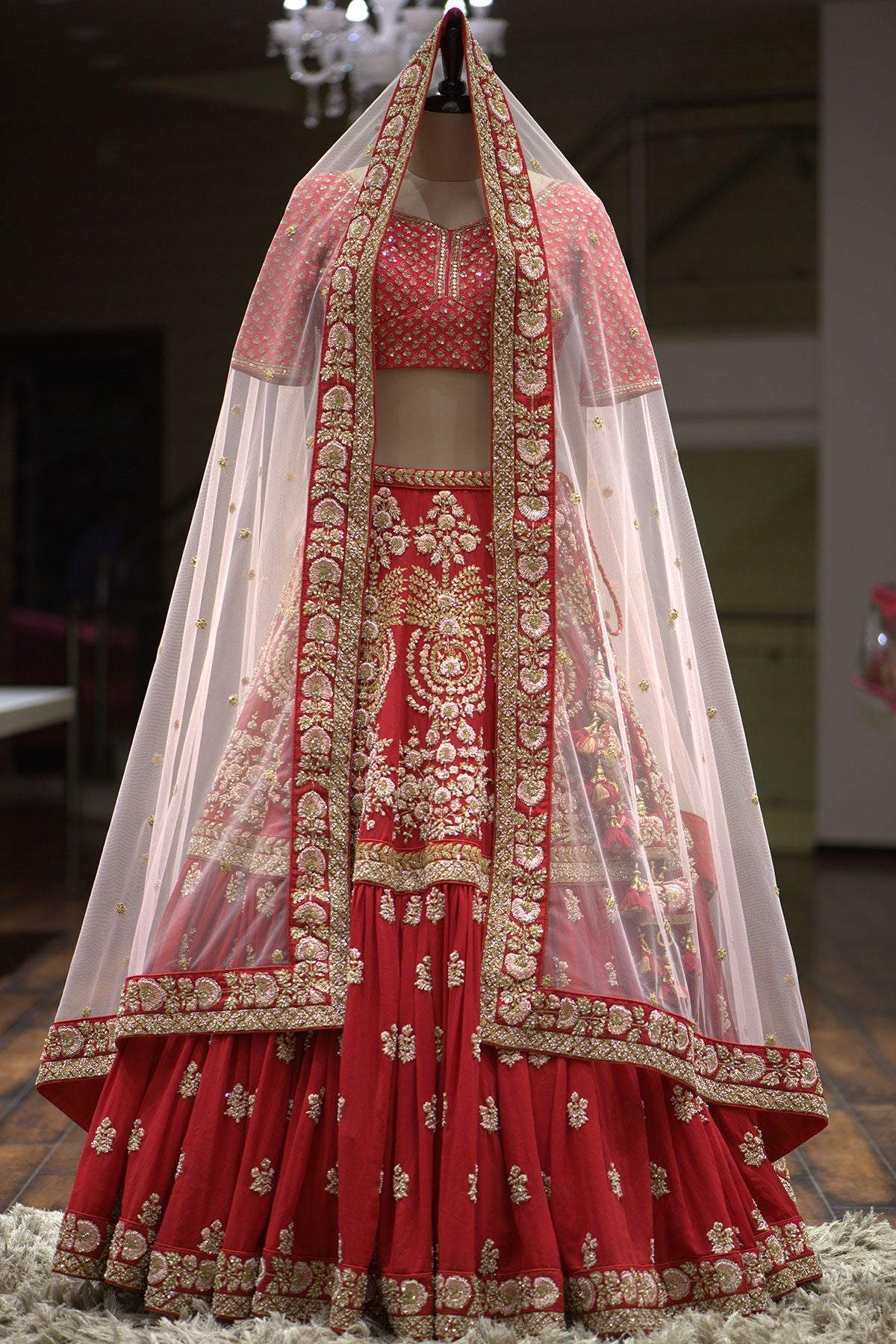A Cherry Red Sequins Embroidered Georgette Bridal Lehenga FF1125
