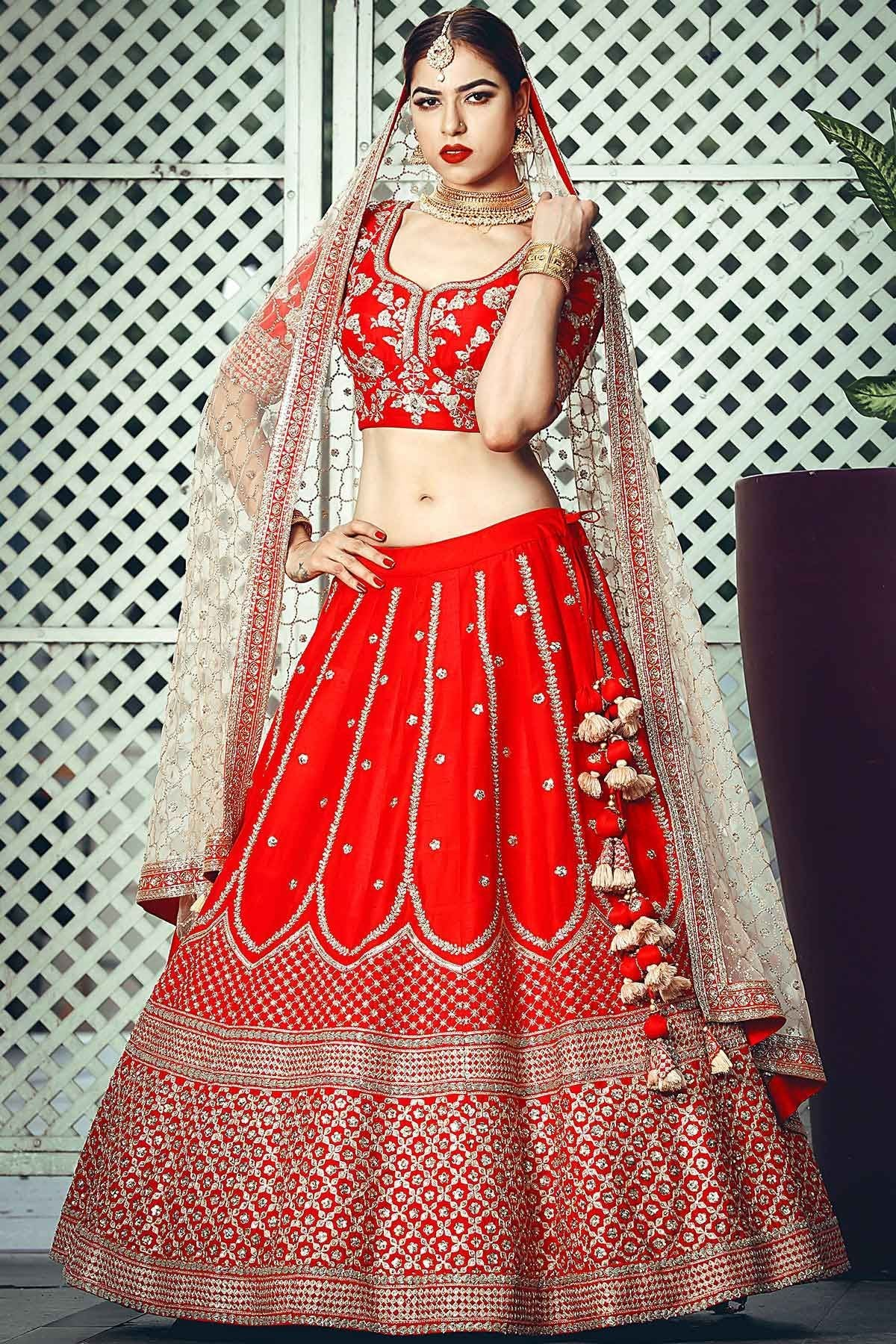 Cranberry Pink Sequins Embroidered Raw Silk Bridal Lehenga