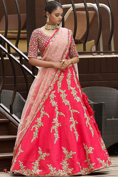 Crimson Pink Sequins Embroidered Raw Silk Bridal Lehenga FF2448