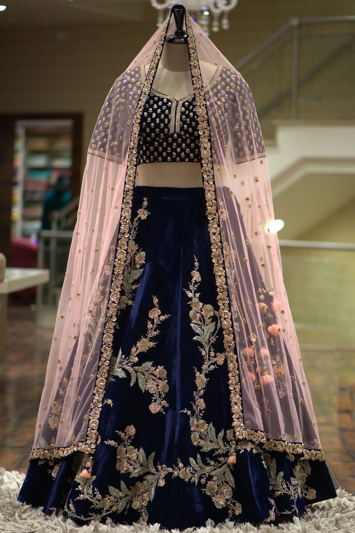 A Dark Blue Velvet Resham Embroidered Bridal Lehenga FF1035