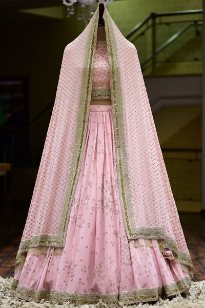 Dusty Pink Sequins Embroidered Raw Silk Bridesmaid Lehenga FF6342