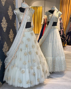 White Color Attractive Embroidered Lehenga Choli