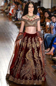 A Red Velvet Zardosi Embroidered Bridal Lehenga With Dupatta FF2073