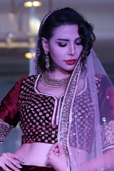 A Red Velvet Zari Embroidered Bridal Lehenga FF2381