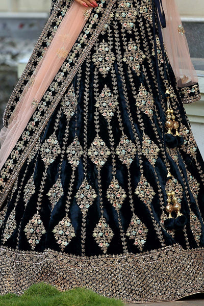A Midnight Blue Zardosi Embroidered Velvet Bridal Lehenga FF2504