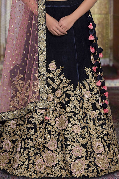 A Prussian Blue Velvet Zari Embroidered Bridal Lehenga FF2524
