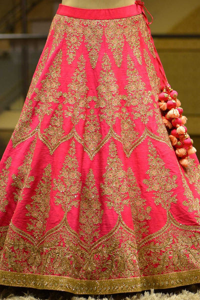Pink Color Dori And Embroidered Work Raw Silk Bridal Lehenga