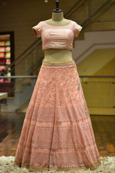 A Rose Quartz Net Sequins Embroidered Bridesmaids Lehenga FF2658