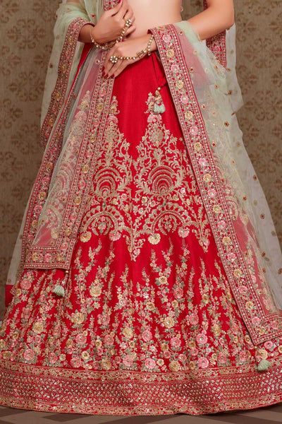 Cherry Red Resham Embroidered Raw Silk Bridal Lehenga FF2691