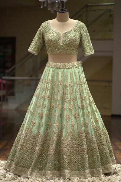 Pastel Green Net Sequins Embroidered Bridal Lehenga FF282