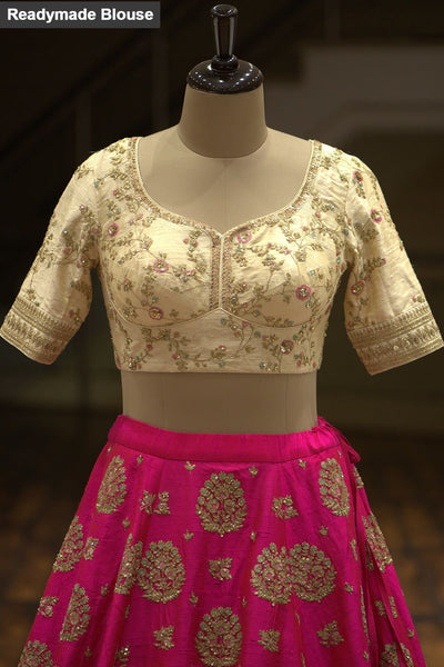 A Cream & Hot Pink Sequins Embroidered Raw Silk Bridal Lehenga FF1206