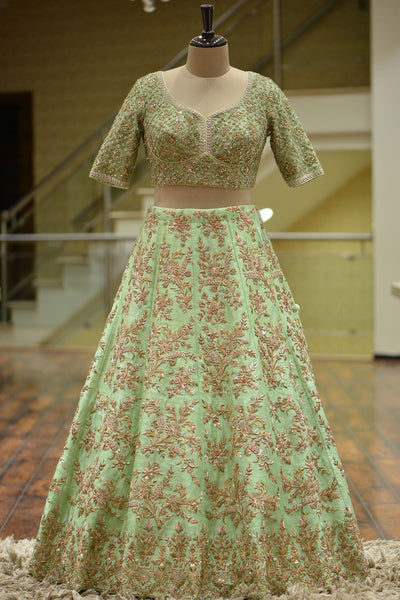 Screaming Green Zardosi Emroidered Raw Silk Bridal Lehenga FF313