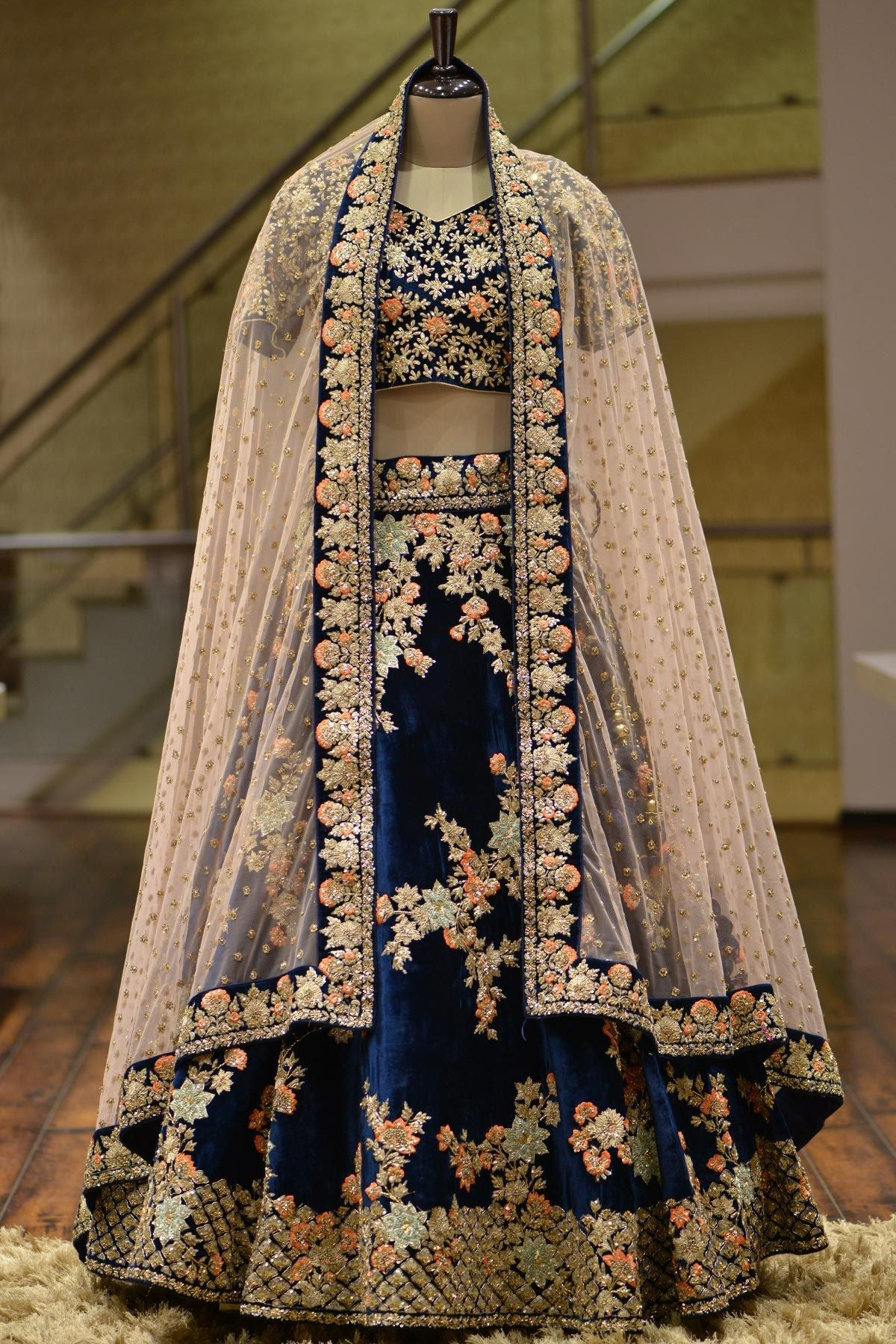 A Midnight Blue Velvet Zari Embroidered Bridal Lehenga