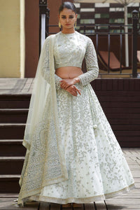 Mint Green Sequins Embroidered Net Bridal Lehenga FF2437