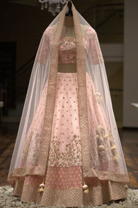Pastel Pink Cutdana Embroidered Raw Silk Bridal Lehenga FF284