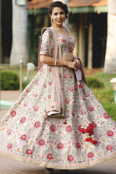 A Peach Resham Embroidered Silk Bridal Lehenga FF2472