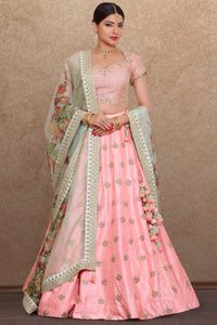 Pink Raw Silk Cutdana Embroidered Bridal Lehenga