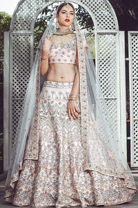 Powder Pink Resham Embroidered Raw Silk Bridal Lehenga FF2957