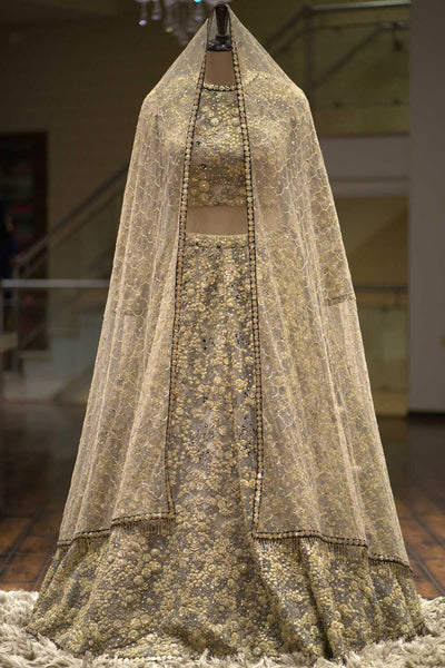 A Taupe Brown Net Thread Embroidered Bridal Lehenga