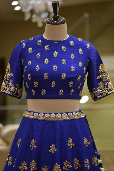 A Royal Blue Raw Silk Zardosi Embroidered Bridal Lehenga FF1583