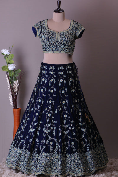 A Navy Blue Sequins Embroidered Velvet Bridal Lehenga