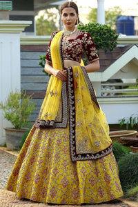 Yellow & Gold Zardosi Embroidered Raw silk Bridal Lehenga