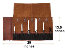 Load image into Gallery viewer, Leather Chef Knife Roll Portable Kitchen Knives bag Protector