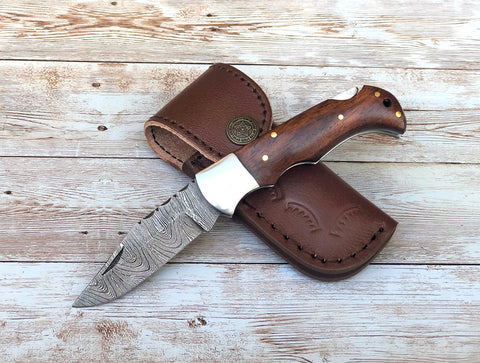 Handmade Damascus Folding Pocket Knife