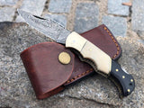 Handmade Damascus Folding Pocket Knife Camel Bone and Buffalo Horn Handle