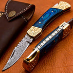 7'' Damascus Steel Pocket Knife Blue Wood