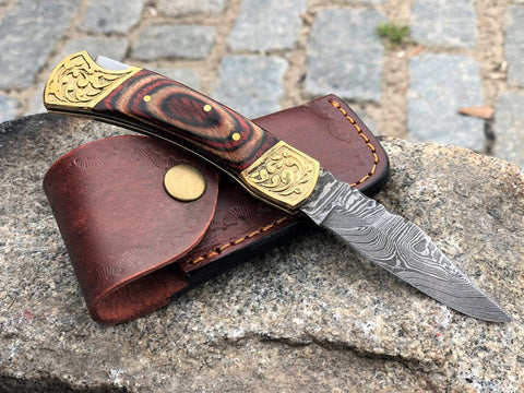Damascus Steel Folding Pocket Knife