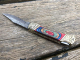 7'' Damascus steel Wood Handle Folding Knife