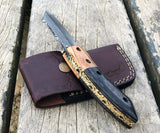 "Authentic Hand Forged 7.5"" Damascus Steel Folding Pocket Knife"