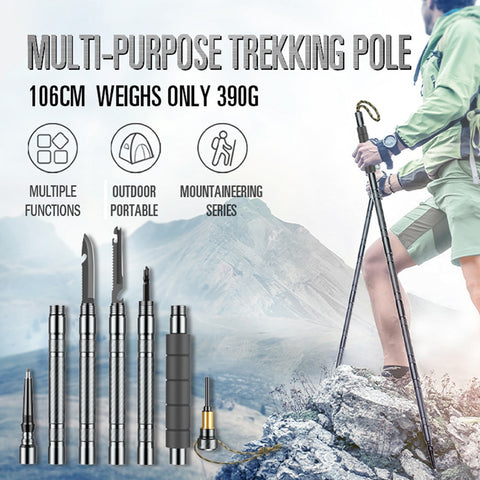 Multi-Function Walking Trekking Stick Pole Folding Defense Stick Screwdriver Kit