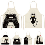 1Pcs Kitchen Cooking Apron Cute Cat Printed Home Sleeveless Cotton Linen Aprons