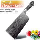 Stainless Steel Utility Santoku Cleaver Chef Knife Set