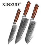 XINZUO 3PCS Kitchen Japanese forged Damascus Steel Chef Knife Sets