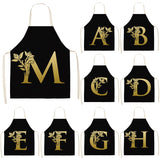 Gold Letter Alphabet Pattern Kitchen Apron For Woman