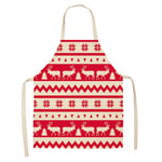 Christmas Decoration Sleeveless Cotton Linen Kitchen Aprons for Women