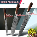 High Carbon Stainless Steel Kitchen Chef Japanese Knife Set